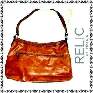 {Relic by Fossil} brown faux leather shoulder bag